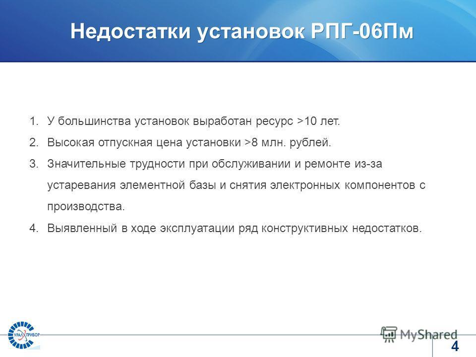 www.tvel.ru Недостатки установок РПГ-06Пм 4 1.У большинства установок выработан ресурс >10 лет. 2.Высокая отпускная цена установки >8 млн. рублей. 3.Значительные трудности при обслуживании и ремонте из-за устаревания элементной базы и снятия электрон