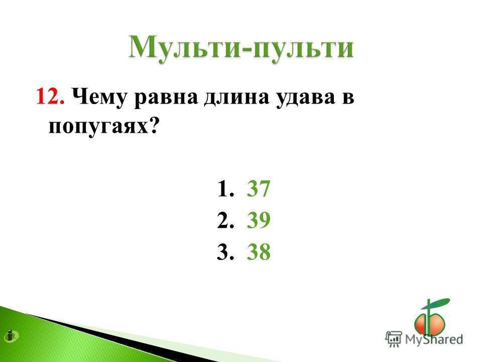 12. Чему равна длина удава в попугаях? 1. 37 2. 39 3. 38