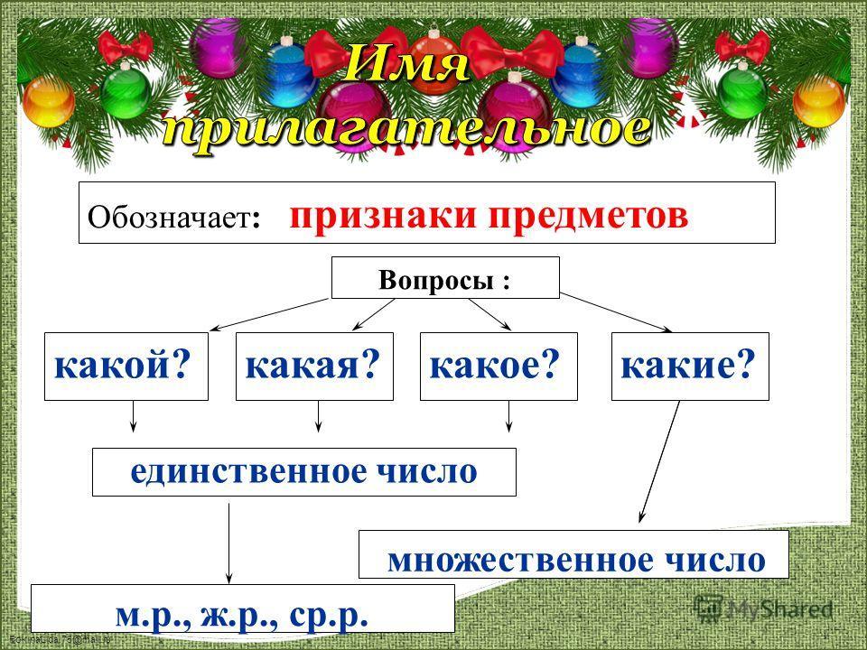FokinaLida.75@mail.ru какой? Вопросы : Обозначает: признаки предметов какая?какое?какие? единственное число множественное число м.р., ж.р., ср.р.