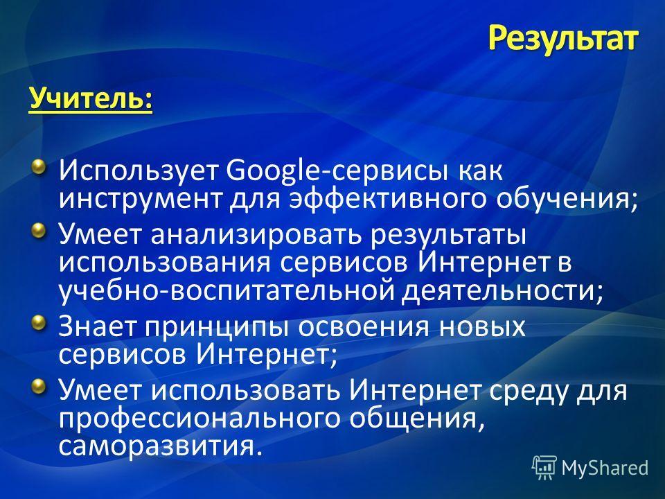 Учитель: Использует Google-сервисы как инструмент для эффективного обучения; Умеет анализировать результаты использования сервисов Интернет в учебно-воспитательной деятельности; Знает принципы освоения новых сервисов Интернет; Умеет использовать Инте
