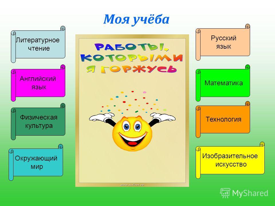 Моя учёба Математика Русский язык Литературное чтение Английский язык Окружающий мир Технология Физическая культура Изобразительное искусство