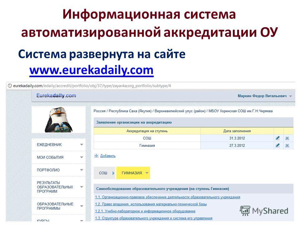Информационная система автоматизированной аккредитации ОУ Система развернута на сайте www.eurekadaily.com www.eurekadaily.com