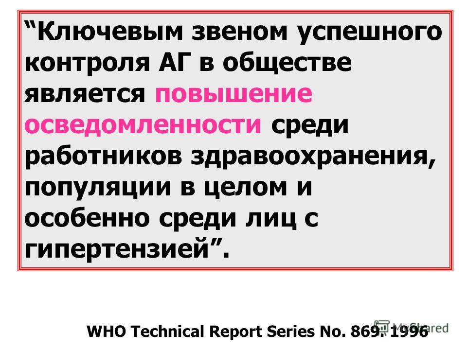 Ключевым звеном успешного контроля АГ в обществе является повышение осведомленности среди работников здравоохранения, популяции в целом и особенно среди лиц с гипертензией. WHO Technical Report Series No. 869. 1996