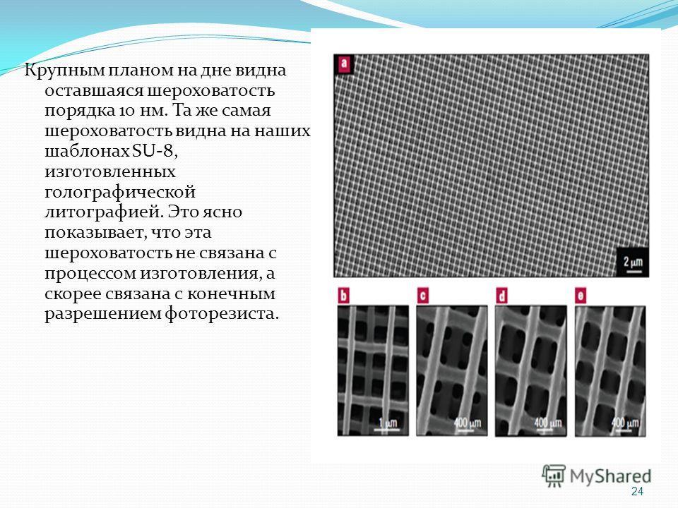 Крупным планом на дне видна оставшаяся шероховатость порядка 10 нм. Та же самая шероховатость видна на наших шаблонах SU-8, изготовленных голографической литографией. Это ясно показывает, что эта шероховатость не связана с процессом изготовления, а с