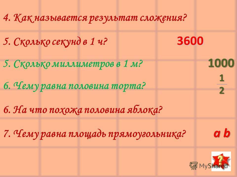 4. Как называется результат сложения? 5. Сколько секунд в 1 ч? 5. Сколько миллиметров в 1 м? 6. Чему равна половина торта? 6. На что похожа половина яблока? 7. Чему равна площадь прямоугольника? 3600 1000 12 a b
