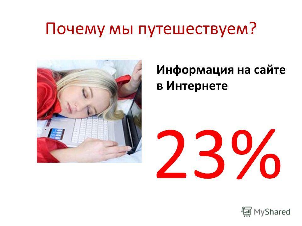 Почему мы путешествуем? Информация на сайте в Интернете 23%