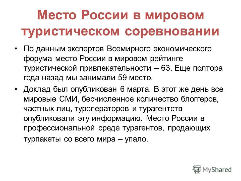 Место России в мировом туристическом соревновании По данным экспертов Всемирного экономического форума место России в мировом рейтинге туристической привлекательности – 63. Еще полтора года назад мы занимали 59 место. Доклад был опубликован 6 марта.