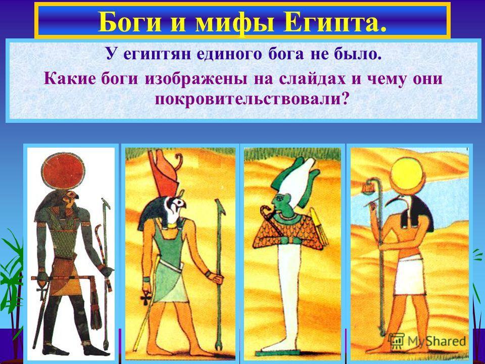 У египтян единого бога не было. Какие боги изображены на слайдах и чему они покровительствовали? Боги и мифы Египта.