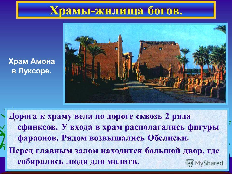 Дорога к храму вела по дороге сквозь 2 ряда сфинксов. У входа в храм располагались фигуры фараонов. Рядом возвышались Обелиски. Перед главным залом находится большой двор, где собирались люди для молитв. Храмы-жилища богов. Храм Амона в Луксоре.