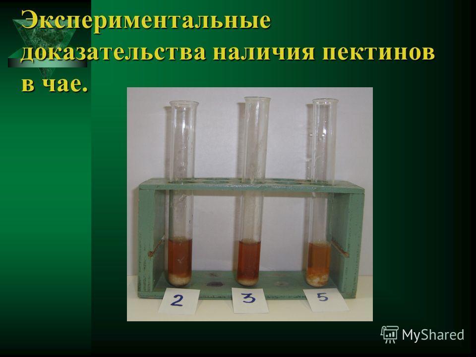 Экспериментальные доказательства наличия пектинов в чае.