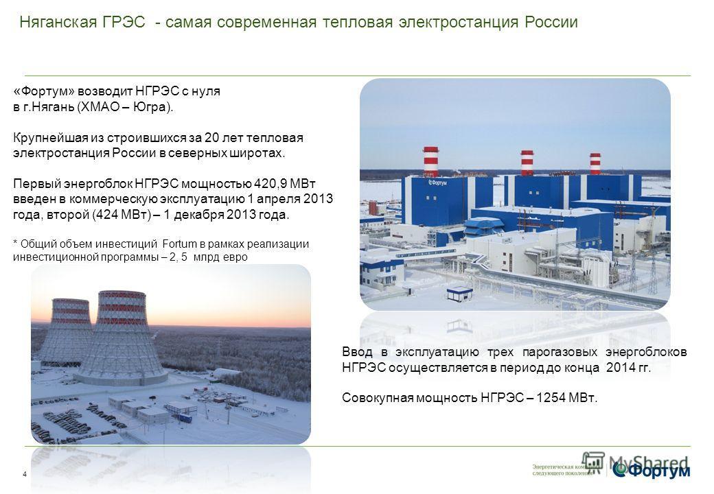 Няганская ГРЭС - самая современная тепловая электростанция России « Фортум» возводит НГРЭС с нуля в г.Нягань (ХМАО – Югра). Крупнейшая из строившихся за 20 лет тепловая электростанция России в северных широтах. Первый энергоблок НГРЭС мощностью 420,9
