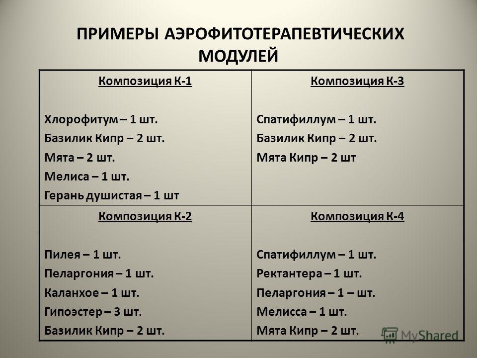ПРИМЕРЫ АЭРОФИТОТЕРАПЕВТИЧЕСКИХ МОДУЛЕЙ Композиция К-1 Хлорофитум – 1 шт. Базилик Кипр – 2 шт. Мята – 2 шт. Мелиса – 1 шт. Герань душистая – 1 шт Композиция К-3 Спатифиллум – 1 шт. Базилик Кипр – 2 шт. Мята Кипр – 2 шт Композиция К-2 Пилея – 1 шт. Пе