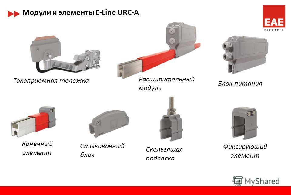 Модули и элементы E-Line URC-C/S Токоприемная тележка Блок питания Конечный элемент Расширительный модуль Стыковочный блок Скользящая подвеска Фиксирующий элемент