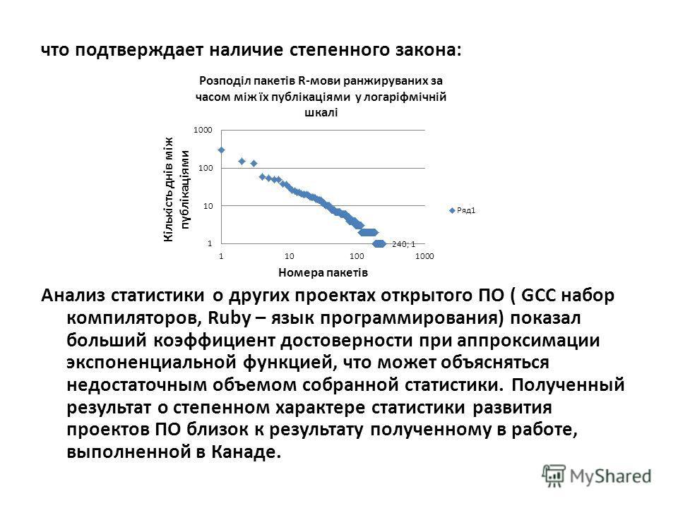 что подтверждает наличие степенного закона: Анализ статистики о других проектах открытого ПО ( GCC набор компиляторов, Ruby – язык программирования) показал больший коэффициент достоверности при аппроксимации экспоненциальной функцией, что может объя