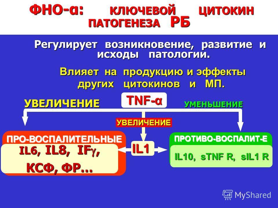 Transforming Thinking in Rheumatoid Arthritis ФНО -α: КЛЮЧЕВОЙ ЦИТОКИН ПАТОГЕНЕЗА РБ Регулирует возникновение, развитие и исходы патологии. ПРО-ВОСПАЛИТЕЛЬНЫЕ IL6, IL8, IF, КСФ, ФР… ПРОТИВО-ВОСПАЛИТ-Е IL10, sTNF R, sIL1 R IL1 TNF-α УВЕЛИЧЕНИЕ УМЕНЬШЕ