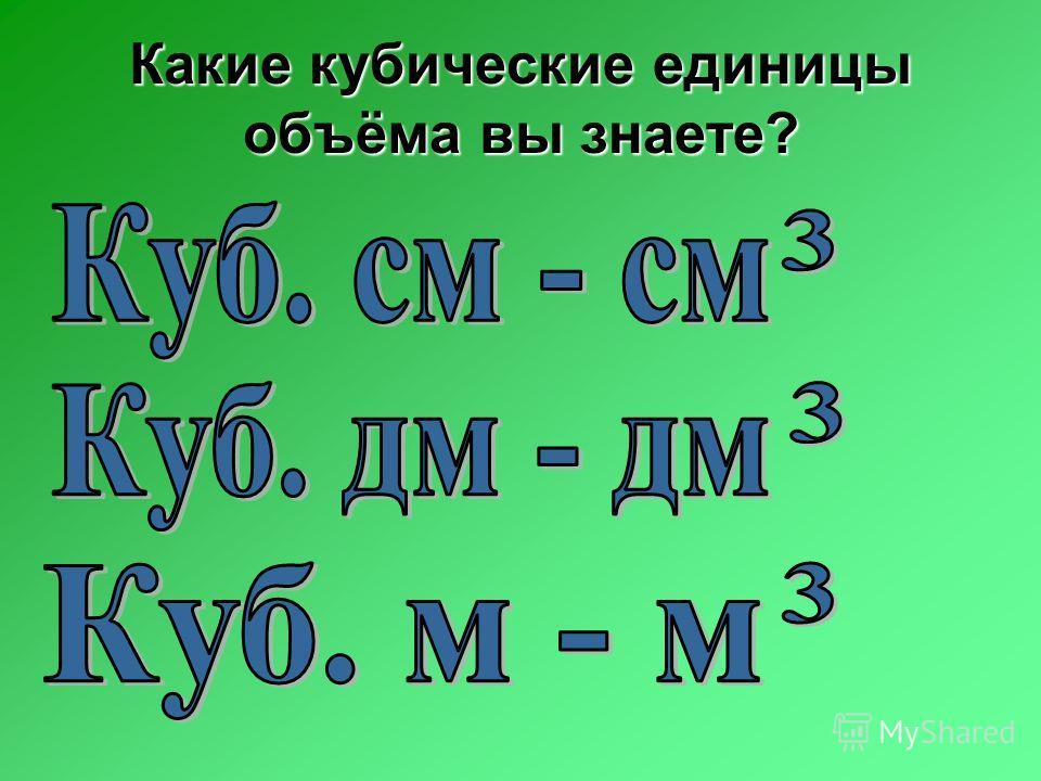 Какие кубические единицы объёма вы знаете?