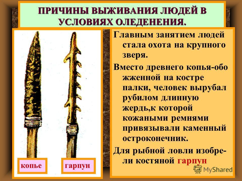Главным занятием людей стала охота на крупного зверя. Вместо древнего копья-обо жженной на костре палки, человек вырубал рубилом длинную жердь,к которой кожаными ремнями привязывали каменный остроконечник. Для рыбной ловли изобре- ли костяной гарпун