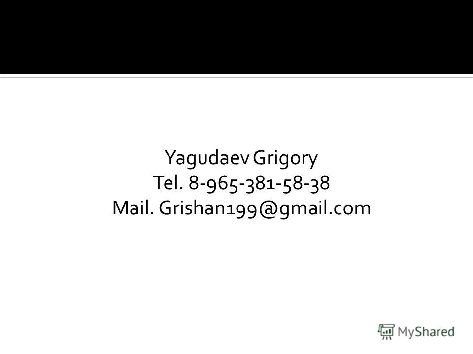 Yagudaev Grigory Tel. 8-965-381-58-38 Mail. Grishan199@gmail.com