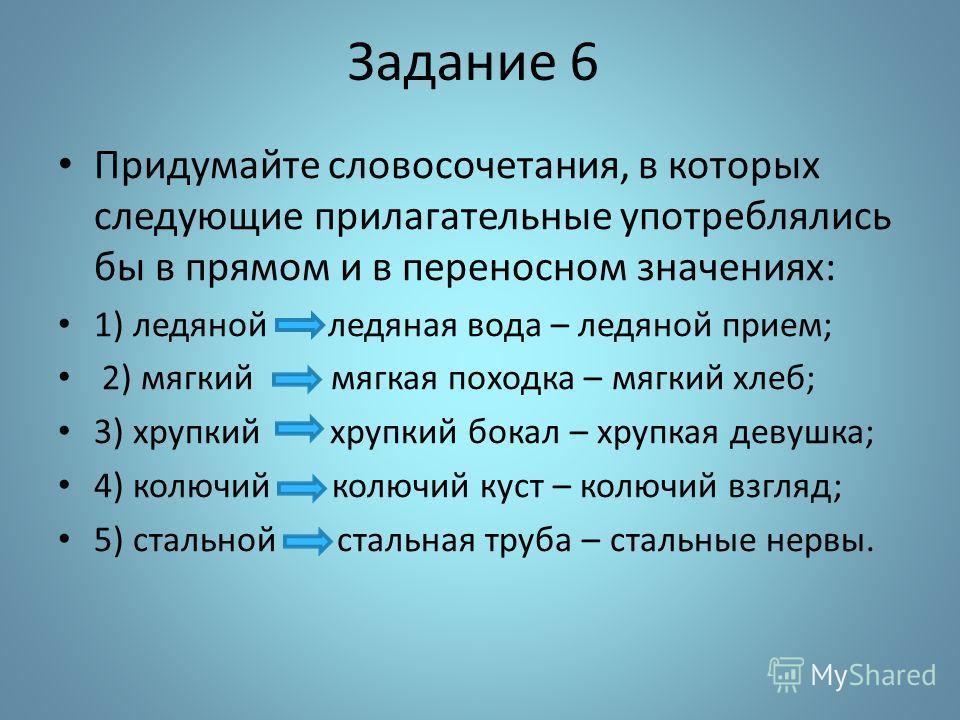 Задание 6 Придумайте словосочетания, в которых следующие прилагательные употреблялись бы в прямом и в переносном значениях: 1) ледяной ледяная вода – ледяной прием; 2) мягкий мягкая походка – мягкий хлеб; 3) хрупкий хрупкий бокал – хрупкая девушка; 4