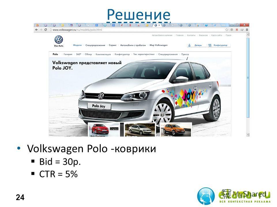 Решение Volkswagen Polo -коврики Bid = 30р. СTR = 5% 24