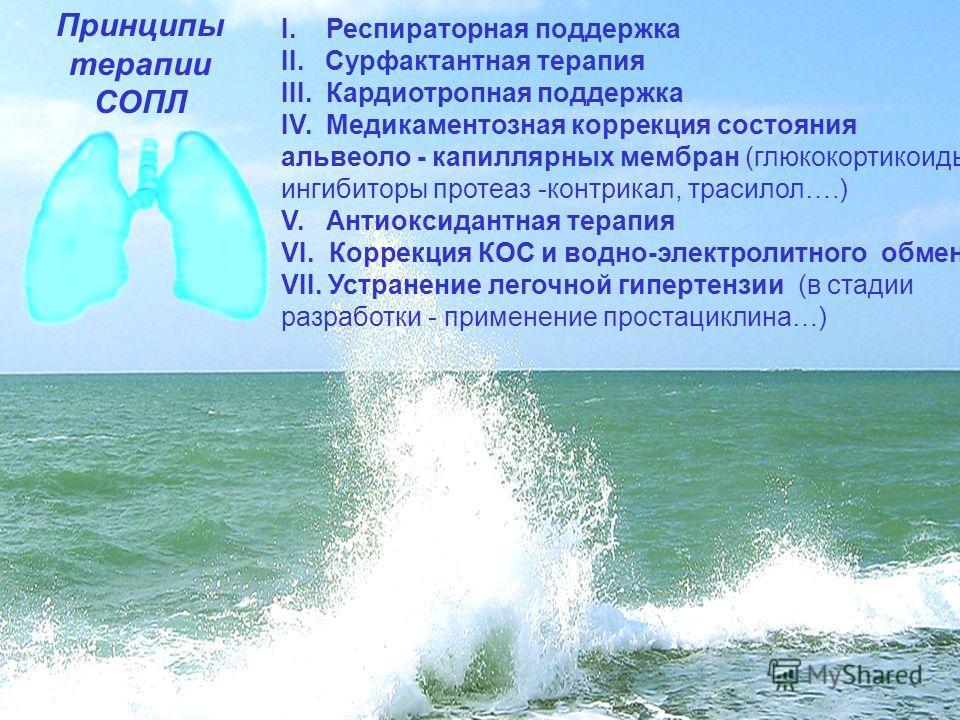 Принципы терапии СОПЛ I. Респираторная поддержка II. Сурфактантная терапия III. Кардиотропная поддержка IV. Медикаментозная коррекция состояния альвеоло - капиллярных мембран (глюкокортикоиды, ингибиторы протеаз -контрикал, трасилол….) V. Антиоксидан
