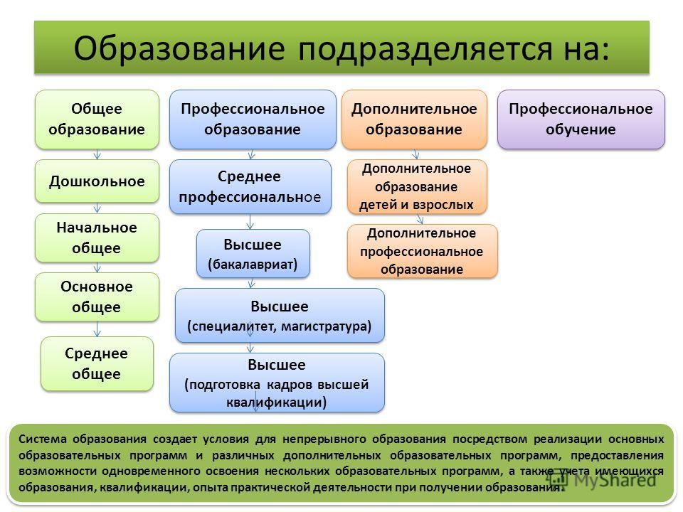 Образование подразделяется на: Общее образование Профессиональное образование Дополнительное образование Профессиональное обучение Дошкольное Начальное общее Основное общее Среднее общее Среднее профессиональное Высшее (бакалавриат) Высшее (бакалаври