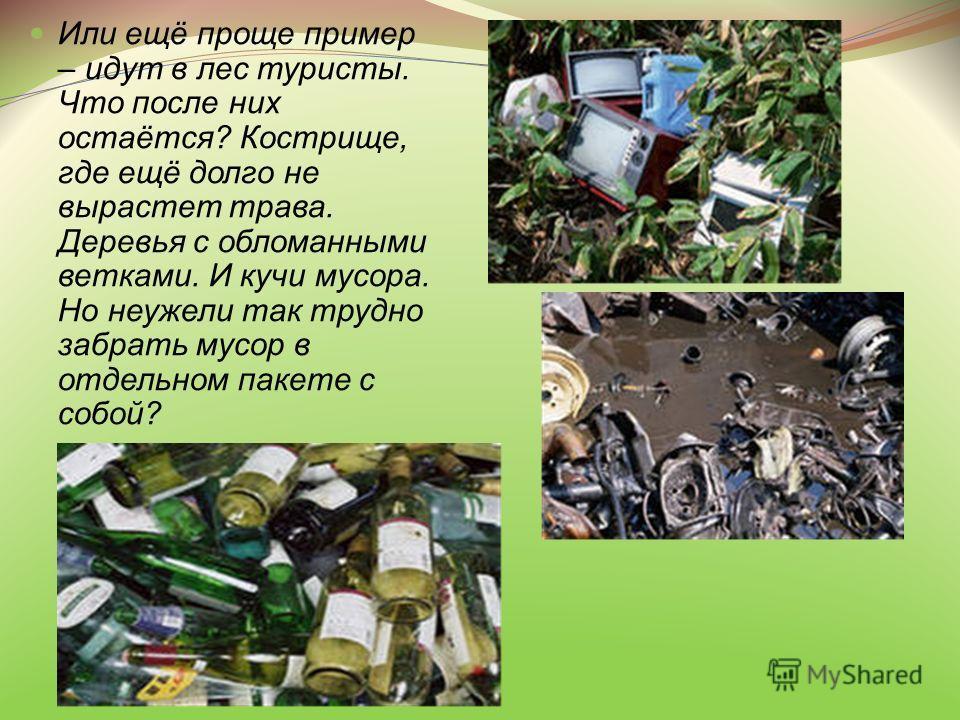 Или ещё проще пример – идут в лес туристы. Что после них остаётся? Кострище, где ещё долго не вырастет трава. Деревья с обломанными ветками. И кучи мусора. Но неужели так трудно забрать мусор в отдельном пакете с собой?