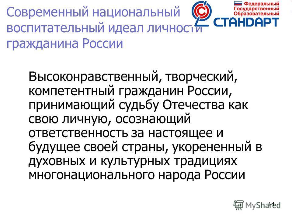 14 Современный национальный воспитательный идеал личности гражданина России В ысоконравственный, творческий, компетентный гражданин России, принимающий судьбу Отечества как свою личную, осознающий ответственность за настоящее и будущее своей страны,