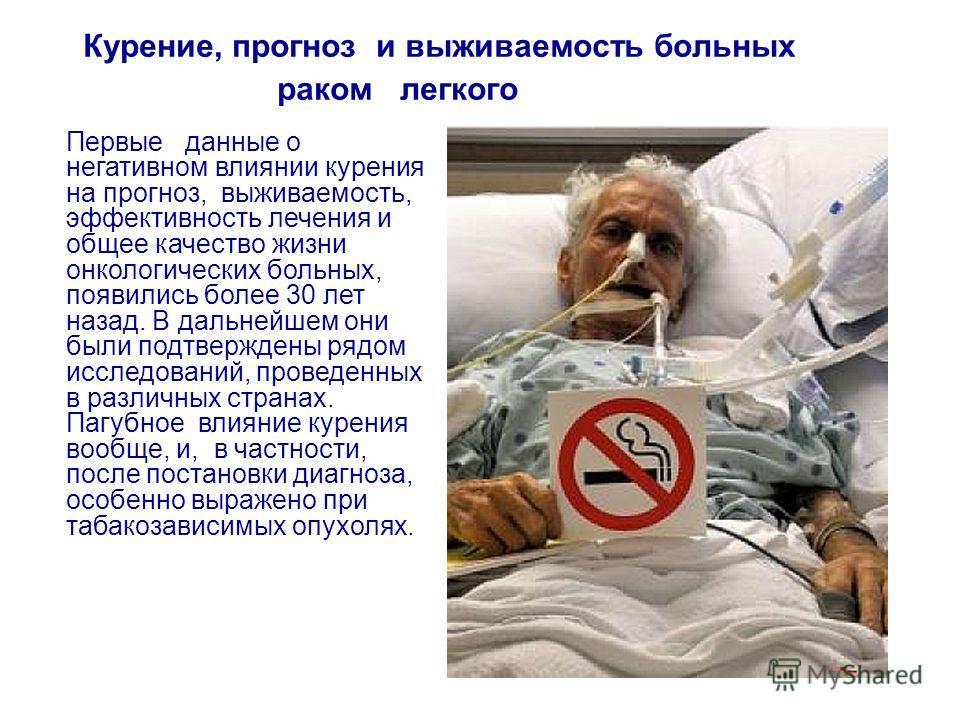 Курение, прогноз и выживаемость больных раком легкого Первые данные о негативном влиянии курения на прогноз, выживаемость, эффективность лечения и общее качество жизни онкологических больных, появились более 30 лет назад. В дальнейшем они были подтве
