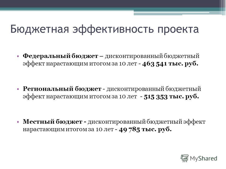 Федеральный бюджет – дисконтированный бюджетный эффект нарастающим итогом за 10 лет - 463 541 тыс. руб. Региональный бюджет - дисконтированный бюджетный эффект нарастающим итогом за 10 лет - 515 353 тыс. руб. Местный бюджет - дисконтированный бюджетн