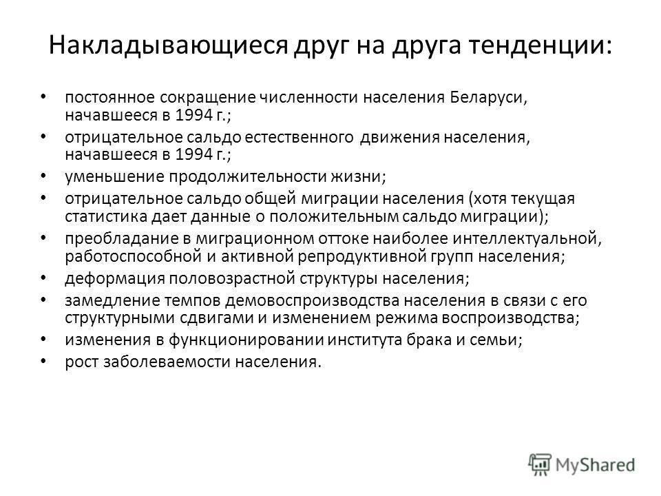 Накладывающиеся друг на друга тенденции: постоянное сокращение численности населения Беларуси, начавшееся в 1994 г.; отрицательное сальдо естественного движения населения, начавшееся в 1994 г.; уменьшение продолжительности жизни; отрицательное сальдо
