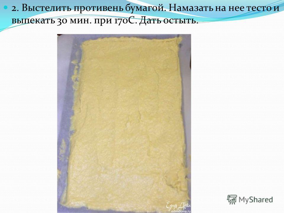 2. Выстелить противень бумагой. Намазать на нее тесто и выпекать 30 мин. при 170С. Дать остыть.