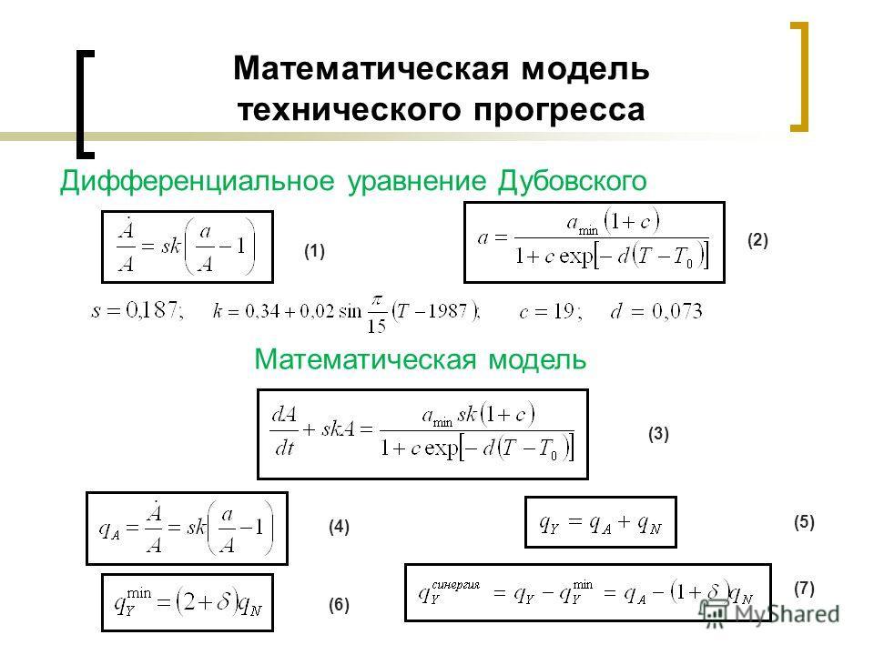 Математическая модель технического прогресса Дифференциальное уравнение Дубовского (2) (3) Математическая модель (4) (5) (6) (7) (1)