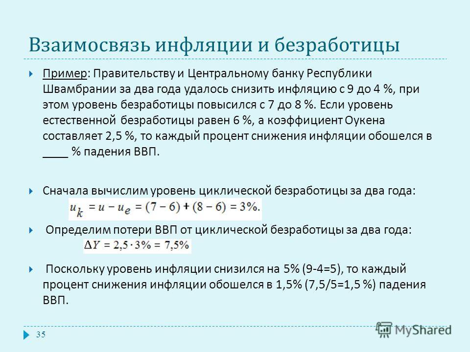 Взаимосвязь инфляции и безработицы Пример : Правительству и Центральному банку Республики Швамбрании за два года удалось снизить инфляцию с 9 до 4 %, при этом уровень безработицы повысился с 7 до 8 %. Если уровень естественной безработицы равен 6 %,