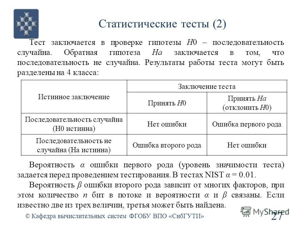 Статистические тесты (2) © Кафедра вычислительных систем ФГОБУ ВПО «СибГУТИ» 27 Тест заключается в проверке гипотезы H0 – последовательность случайна. Обратная гипотеза Ha заключается в том, что последовательность не случайна. Результаты работы теста