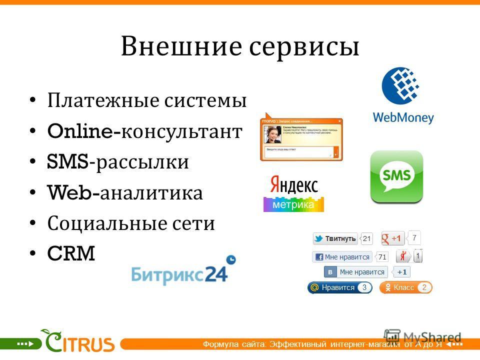 Внешние сервисы Платежные системы Online- консультант SMS- рассылки Web- аналитика Социальные сети CRM Формула сайта: Эффективный интернет-магазин от А до Я