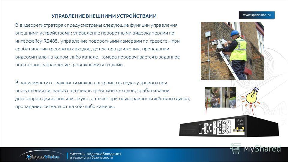 УПРАВЛЕНИЕ ВНЕШНИМИ УСТРОЙСТВАМИ В видеорегистраторах предусмотрены следующие функции управления внешними устройствами: управление поворотными видеокамерами по интерфейсу RS485. управление поворотными камерами по тревоге - при срабатывании тревожных