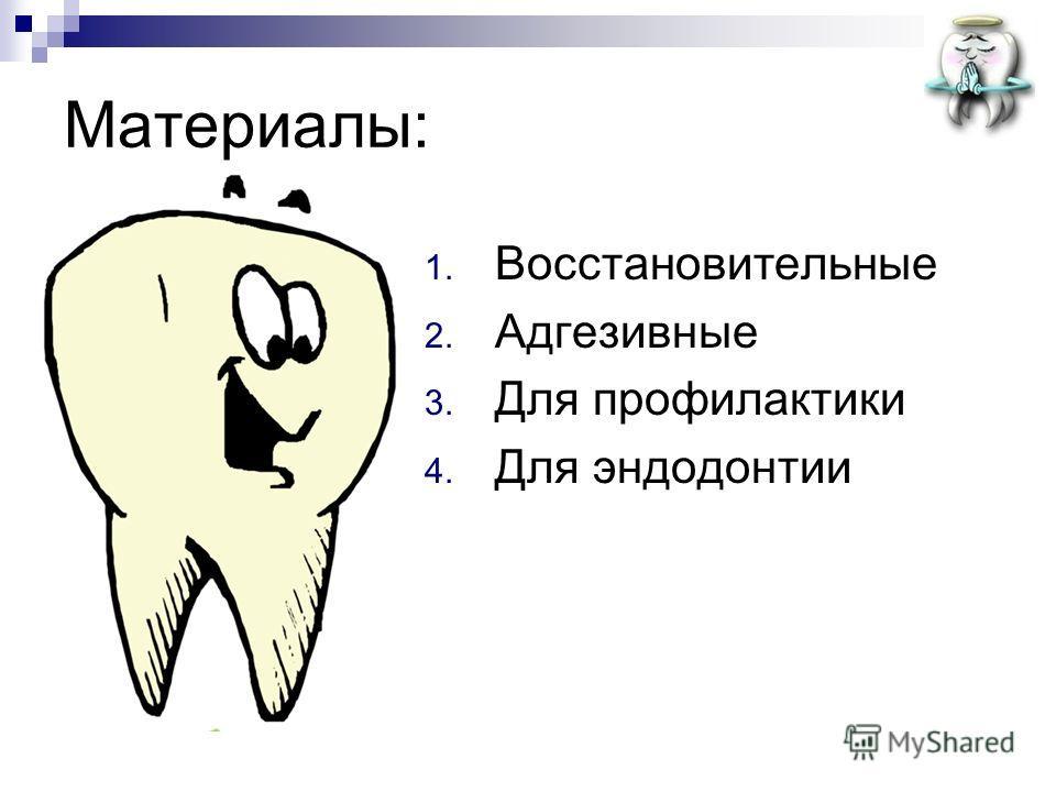 Материалы: 1. Восстановительные 2. Адгезивные 3. Для профилактики 4. Для эндодонтии