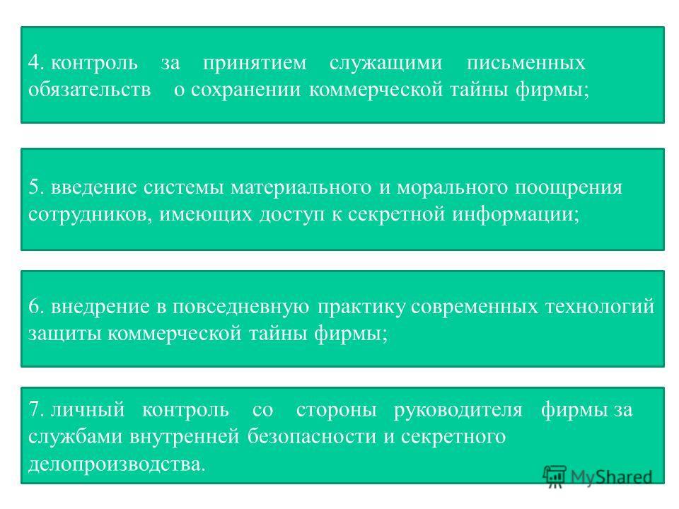 4. контроль за принятием служащими письменных обязательств о сохранении коммерческой тайны фирмы; 5. введение системы материального и морального поощрения сотрудников, имеющих доступ к секретной информации; 6. внедрение в повседневную практику соврем
