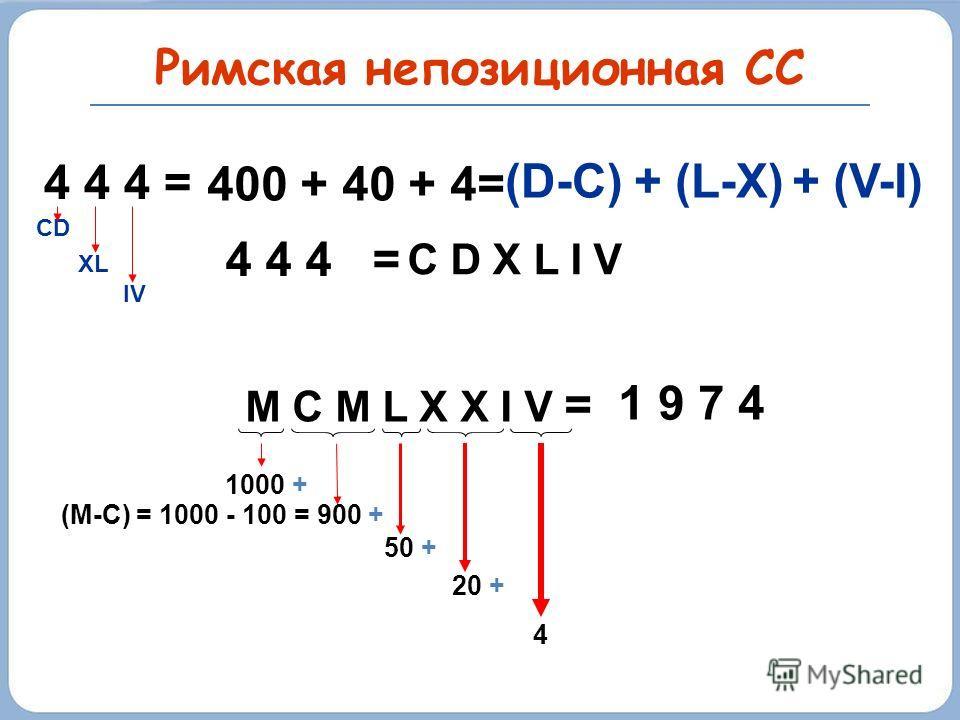 Римская непозиционная СС если меньшая цифра стоит слева от большей IX (10-1=9) если меньшие цифры стоят справа от большей XII (10+1+1=12) не ставят больше трех одинаковых цифр подряд Примеры: – + D X L I I = 542 X X X I I = 32 98 = XCVIII 99 = XCIX 1