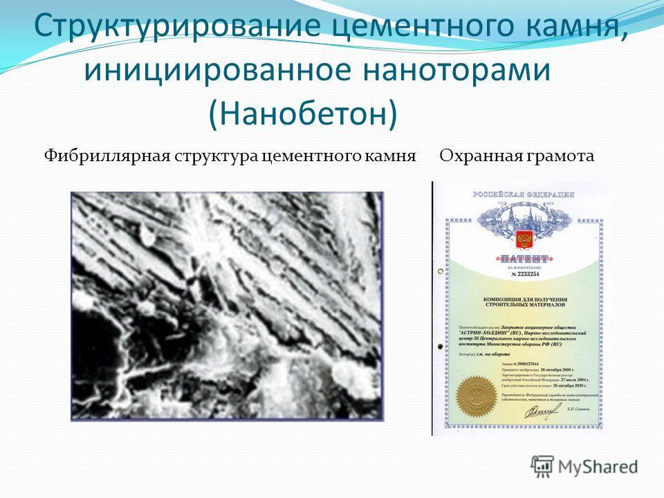 Структурирование цементного камня, инициированное наноторами (Нанобетон) Фибриллярная структура цементного камня Охранная грамота