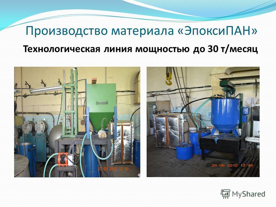 Производство материала «ЭпоксиПАН» Технологическая линия мощностью до 30 т/месяц