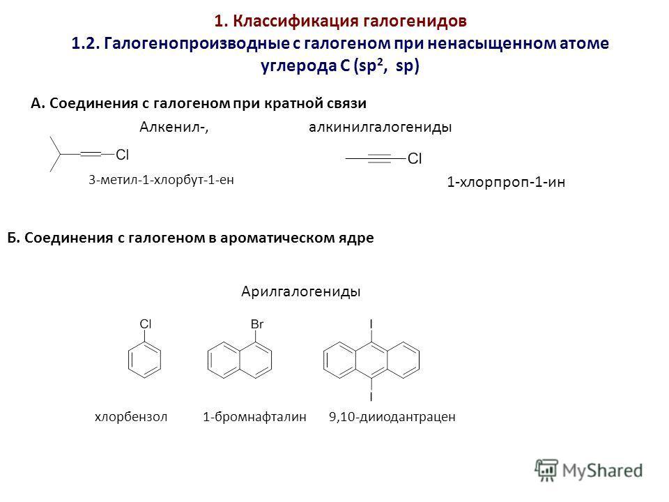 1. Классификация галогенидов 1.2. Галогенопроизводные с галогеном при ненасыщенном атоме углерода С (sp 2, sp) А. Соединения с галогеном при кратной связи Б. Соединения с галогеном в ароматическом ядре Арилгалогениды Алкенил-, алкинилгалогениды 1-хло