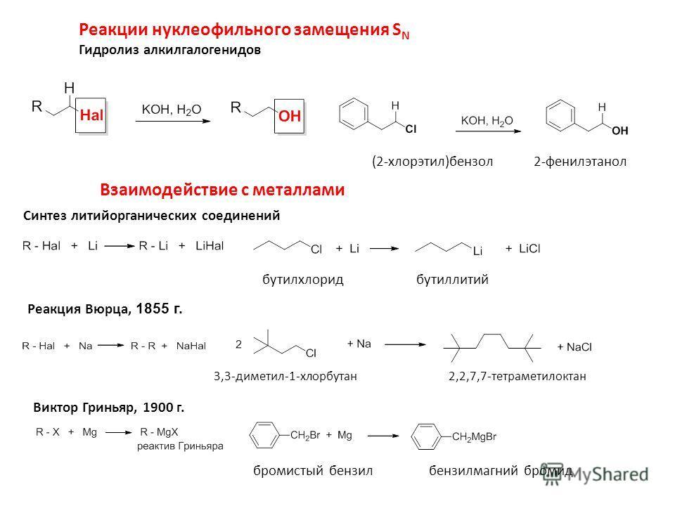 Реакции нуклеофильного замещения S N Гидролиз алкилгалогенидов (2-хлорэтил)бензол 2-фенилэтанол Взаимодействие с металлами Синтез литийорганических соединений Реакция Вюрца, 1855 г. бутилхлорид бутиллитий 3,3-диметил-1-хлорбутан2,2,7,7-тетраметилокта
