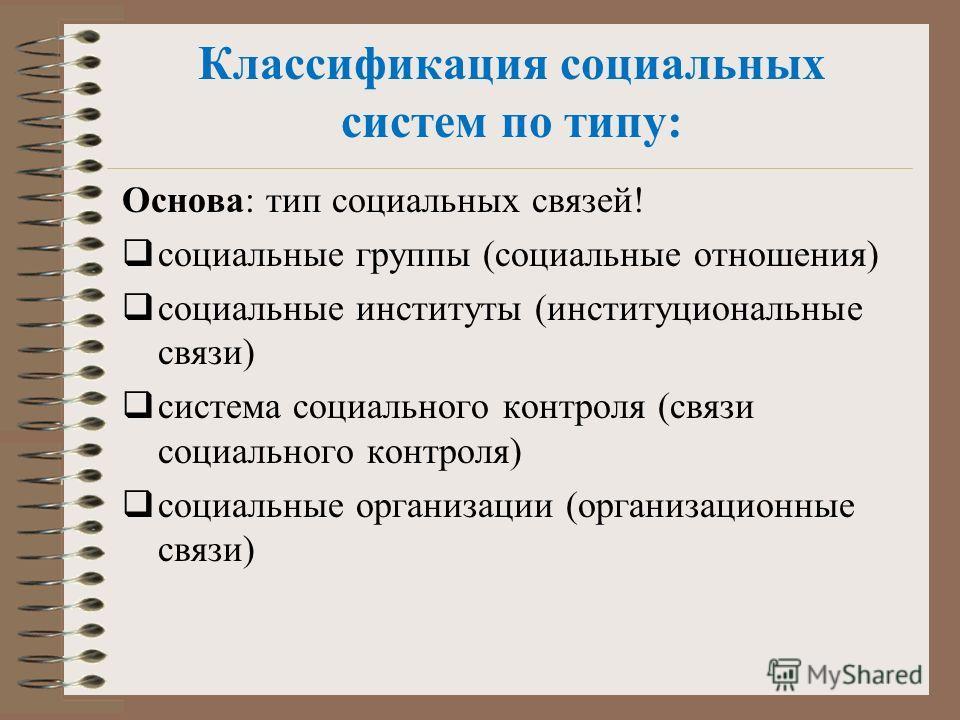 Классификация социальных систем по типу: Основа: тип социальных связей! социальные группы (социальные отношения) социальные институты (институциональные связи) система социального контроля (связи социального контроля) социальные организации (организа