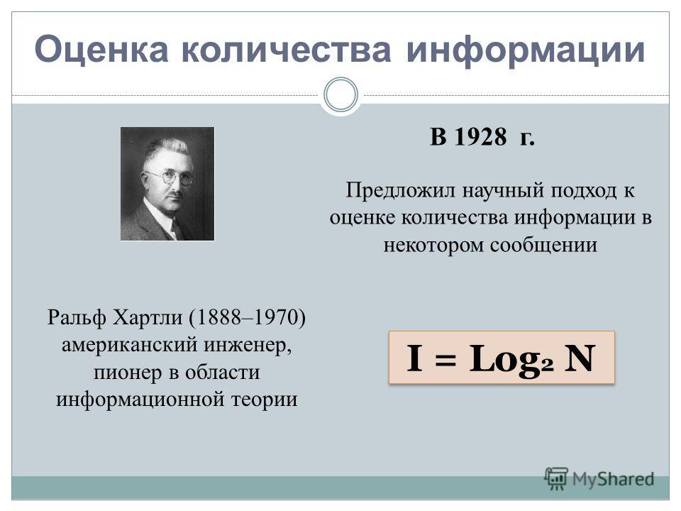 Оценка количества информации Ральф Хартли (1888–1970) американский инженер, пионер в области информационной теории I = Log 2 N В 1928 г. Предложил научный подход к оценке количества информации в некотором сообщении