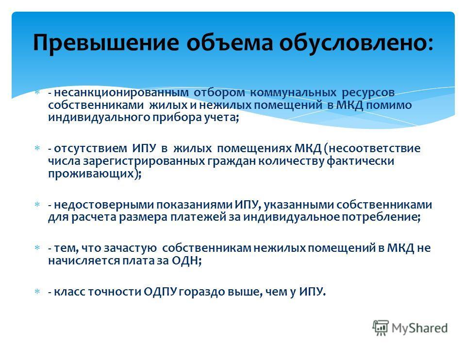 - несанкционированным отбором коммунальных ресурсов собственниками жилых и нежилых помещений в МКД помимо индивидуального прибора учета; - отсутствием ИПУ в жилых помещениях МКД (несоответствие числа зарегистрированных граждан количеству фактически п
