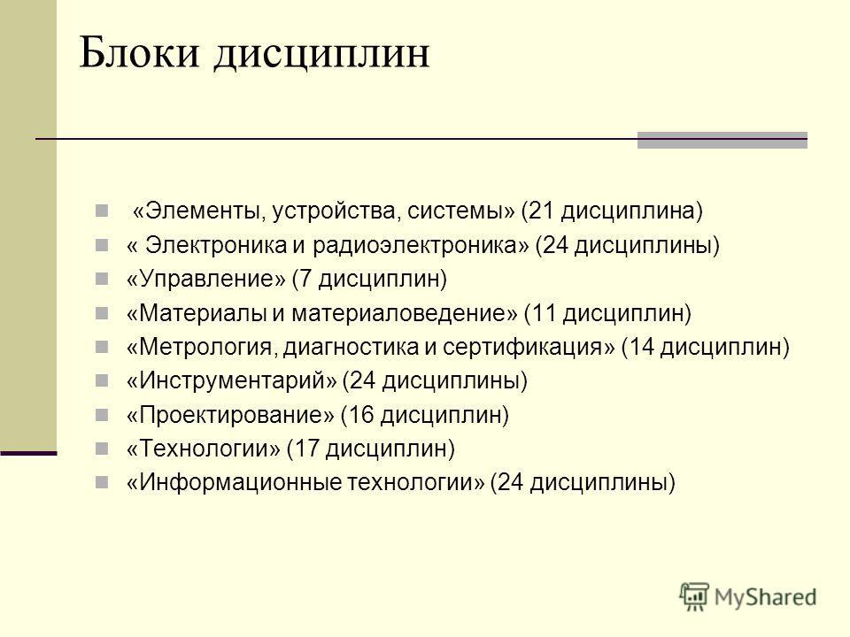 Блоки дисциплин «Элементы, устройства, системы» (21 дисциплина) « Электроника и радиоэлектроника» (24 дисциплины) «Управление» (7 дисциплин) «Материалы и материаловедение» (11 дисциплин) «Метрология, диагностика и сертификация» (14 дисциплин) «Инстру