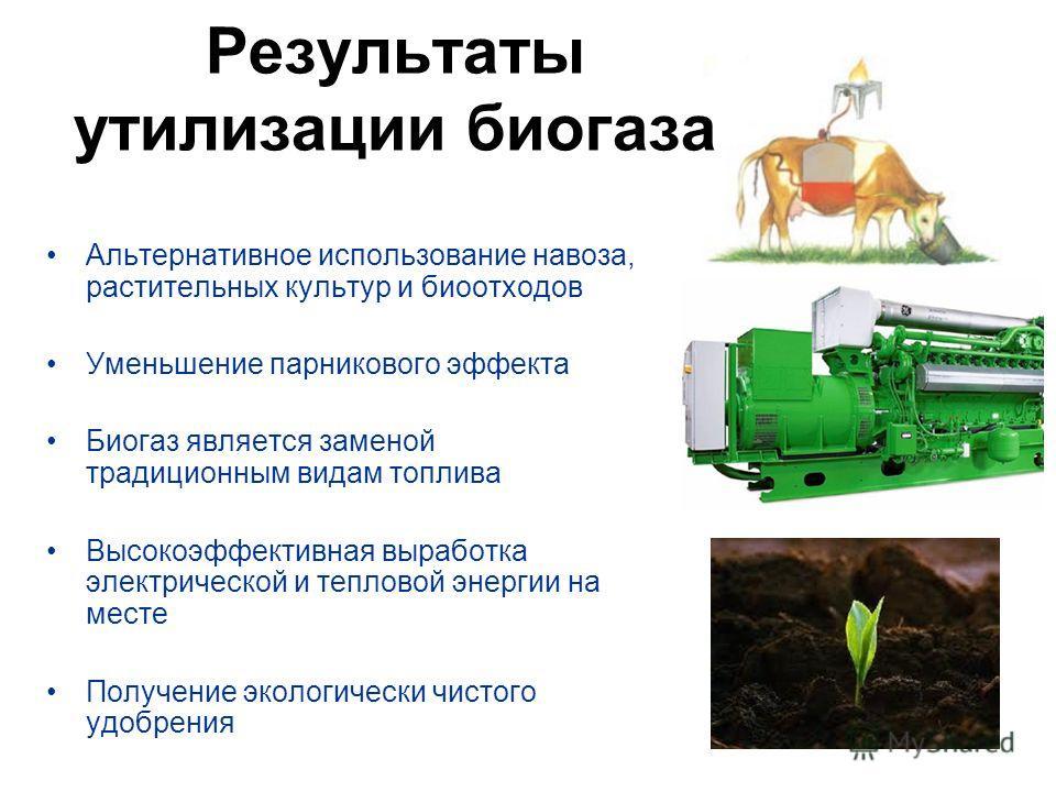 Альтернативное использование навоза, растительных культур и биоотходов Уменьшение парникового эффекта Биогаз является заменой традиционным видам топлива Высокоэффективная выработка электрической и тепловой энергии на месте Получение экологически чист