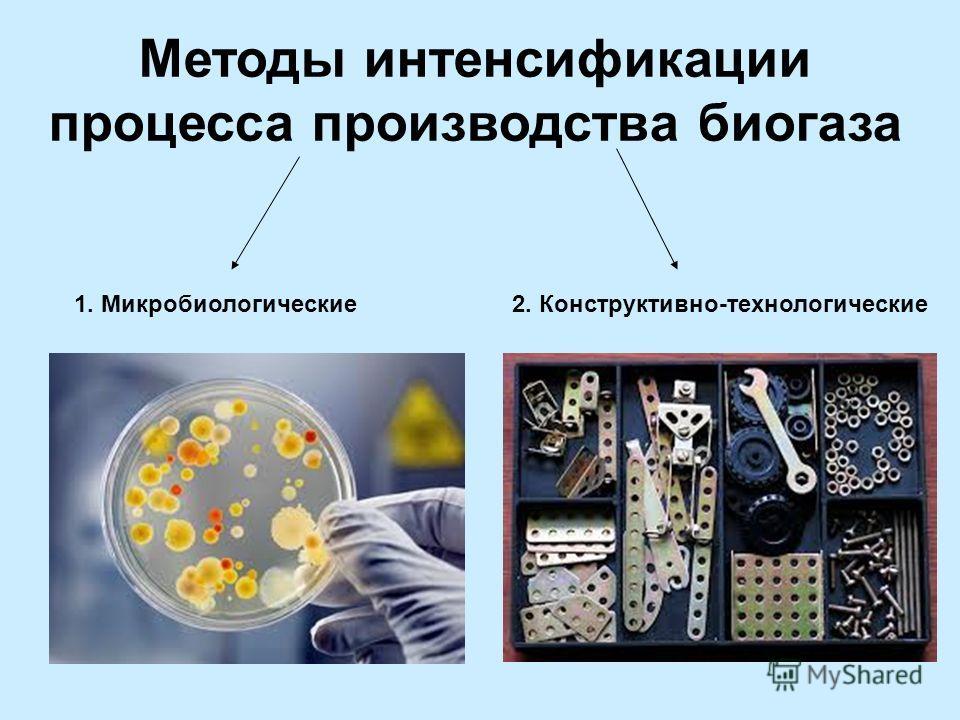 Методы интенсификации процесса производства биогаза 1. Микробиологические2. Конструктивно-технологические